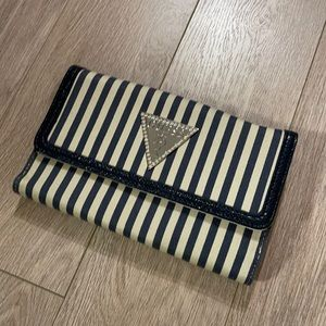 Guess Navy and White Striped Wallet with box